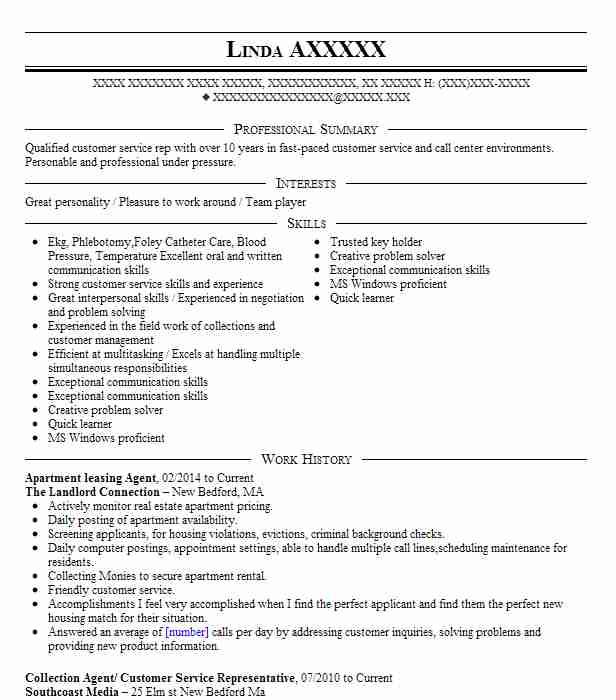 Apartment Leasing Agent Resume Sample Resumes Livecareer