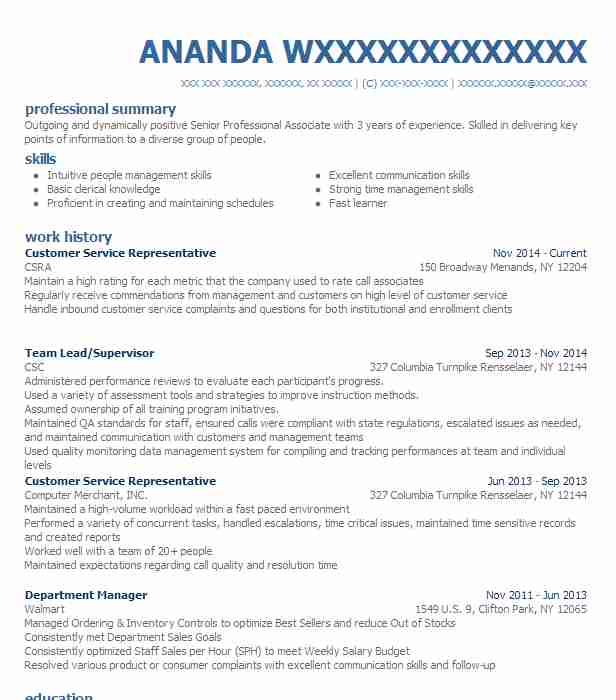 Customer Service Representative Resume Example (CSRA) - Schenectady ...