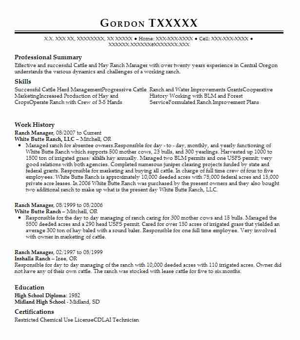 91 Ranch (Natural Resources And Agriculture) Resume Examples in ...