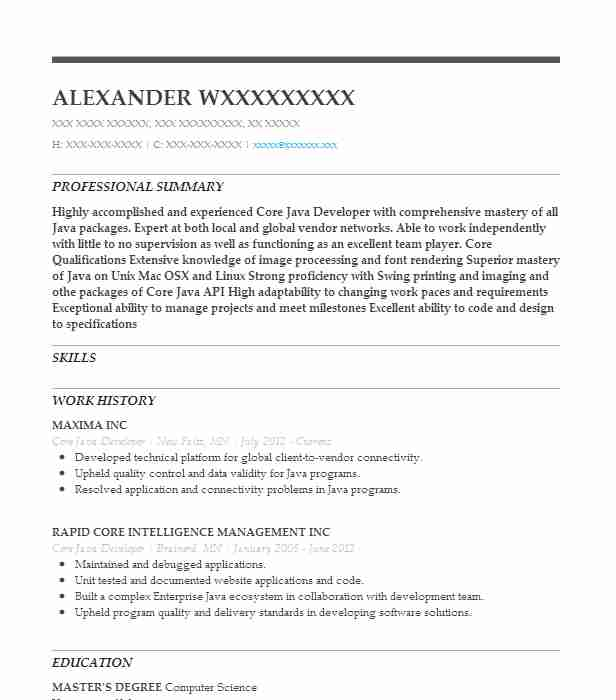 core java developer resume sample