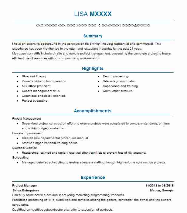 15 construction resume examples in byron ga livecareer project manager malvernweather Images