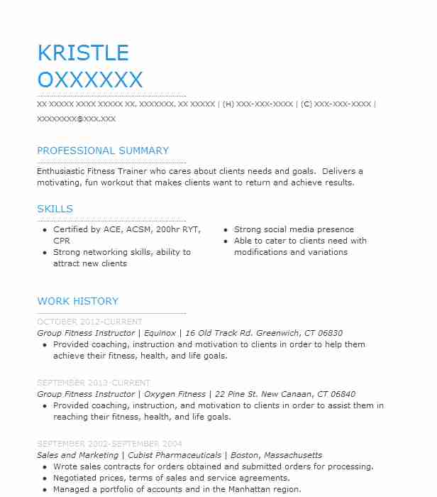 Group Fitness Instructor Resume Example Equinox Bedford New York