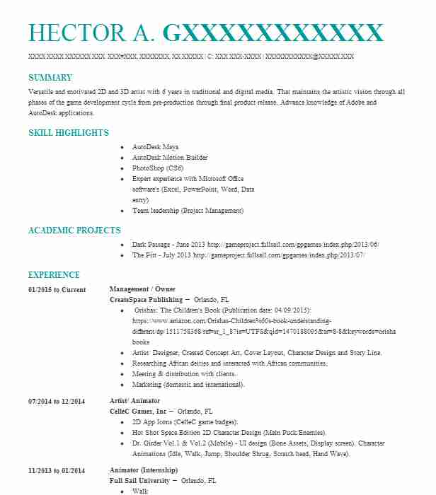 animator resume example resume and cover letter
