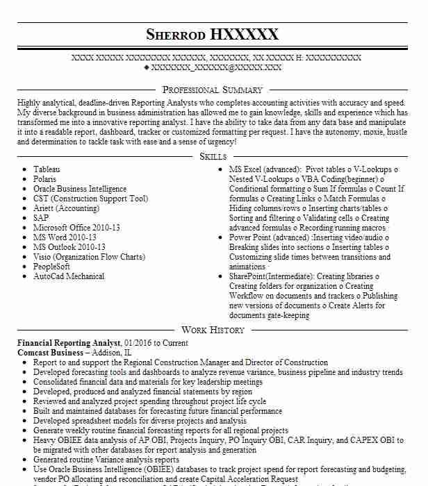 financial reporting analyst resume sample