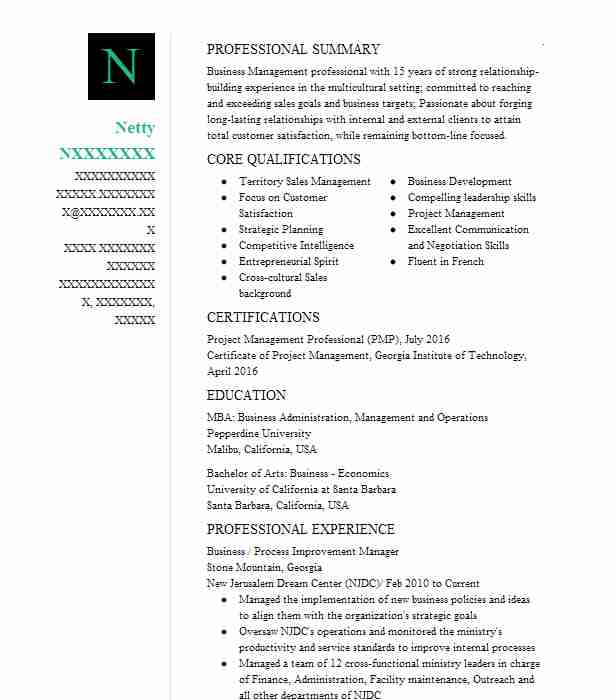 business process improvement manager resume example