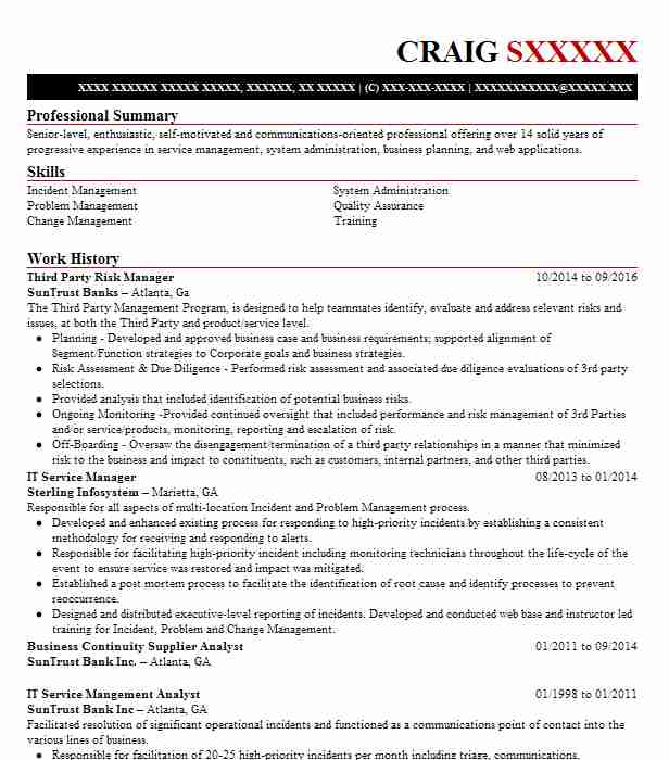 Third Party Risk Manager Resume Example Suntrust Banks ...
