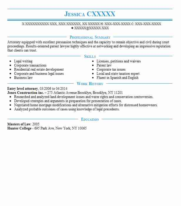 Entry Level Attorney Resume Sample Entry Level Resumes