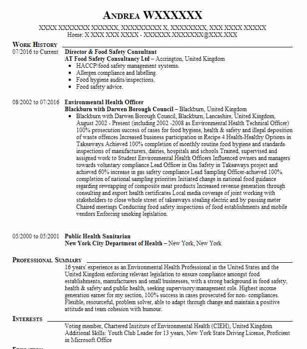 Director & Food Safety Consultant Resume Example AT Food ...