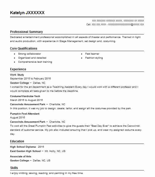 stage manager resume example germantown community theatre