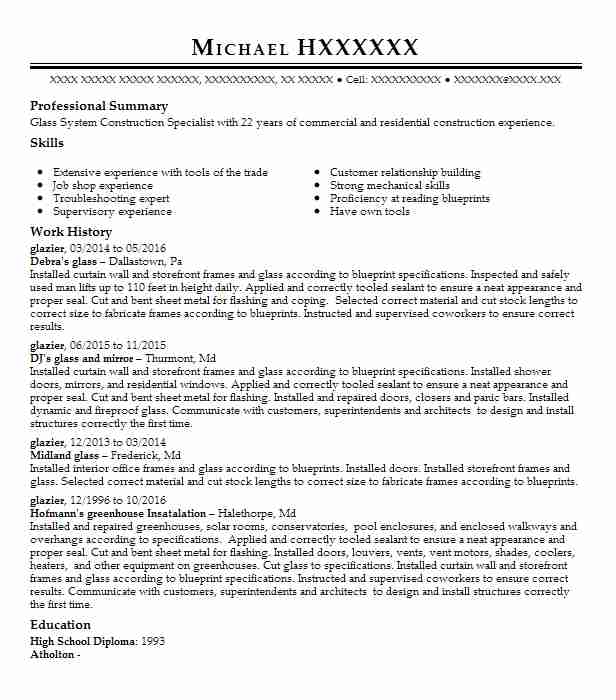 32 Glaziers Resume Examples In Maryland Livecareer