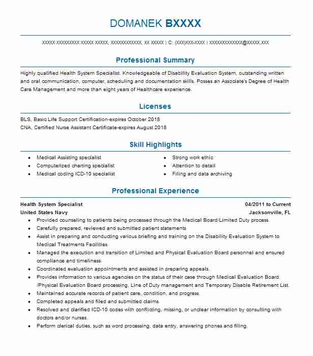 Health System Specialist Resume Sample