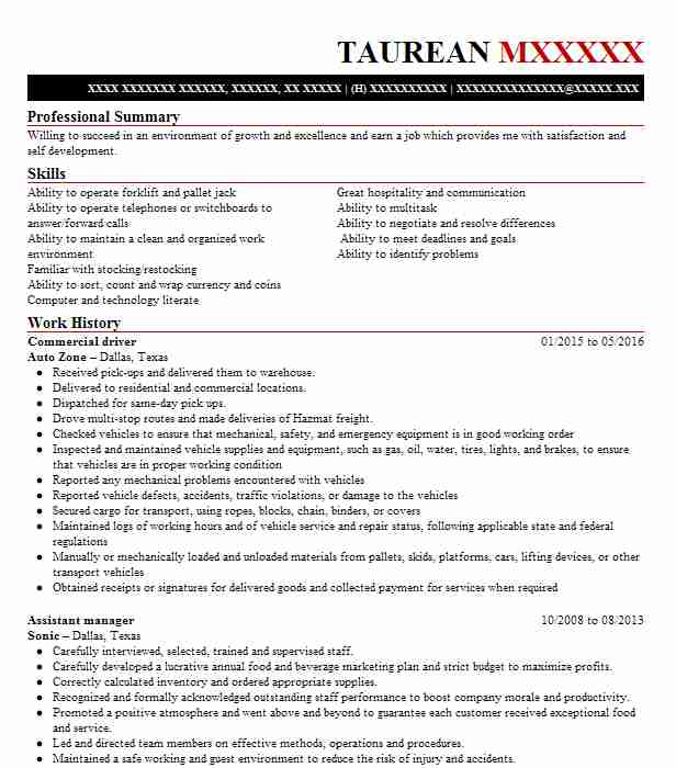 bus driver resume example  marta