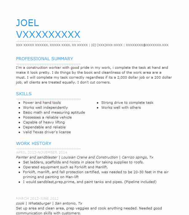 painter and sandblaster resume example louisian crane and