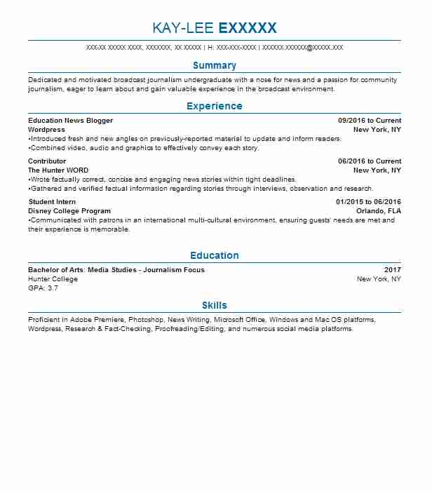 journalism resume examples entertainment and media resumes