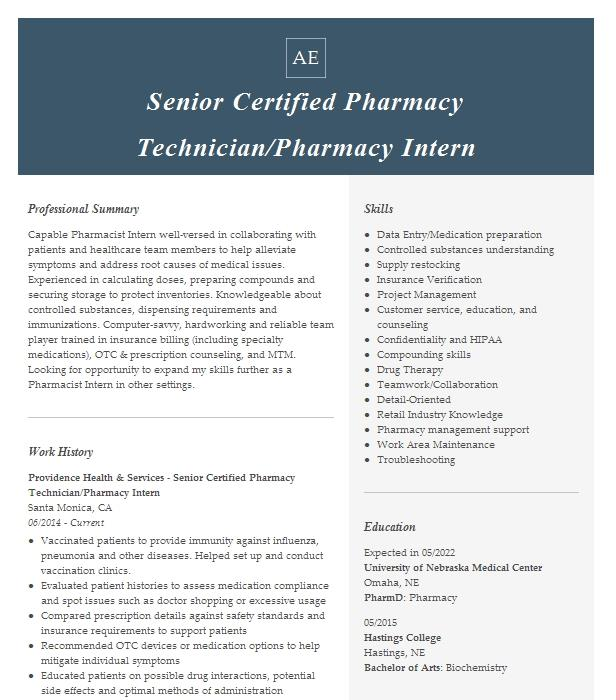 Intern Pharmacist Resume Example Providence Little Company