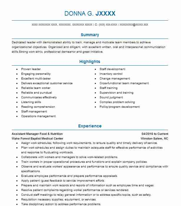 Food And Nutrition Supervisor Resume Example North Kansas