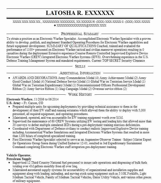 Surface Warfare Officer Resume Example United States Navy