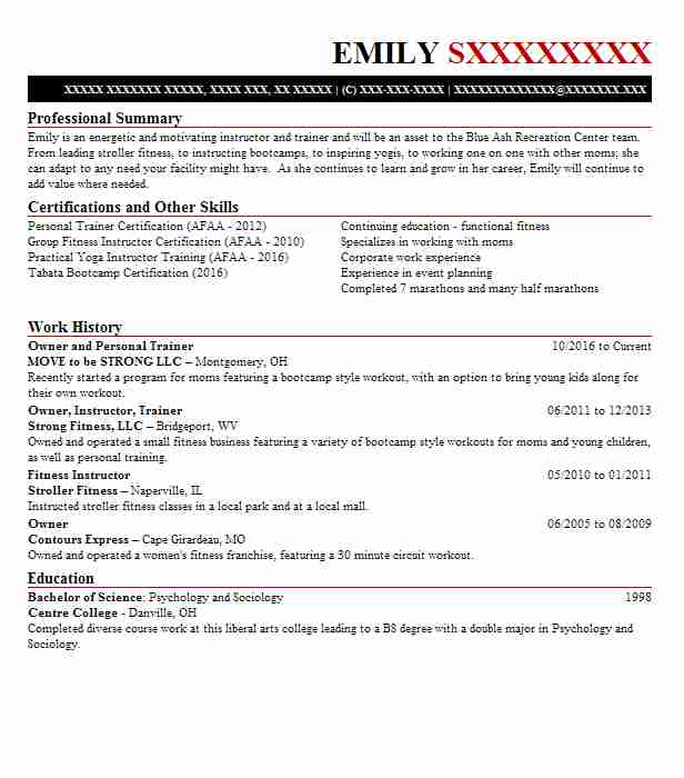 Owner And Personal Trainer Resume Example Move To Be Strong Llc