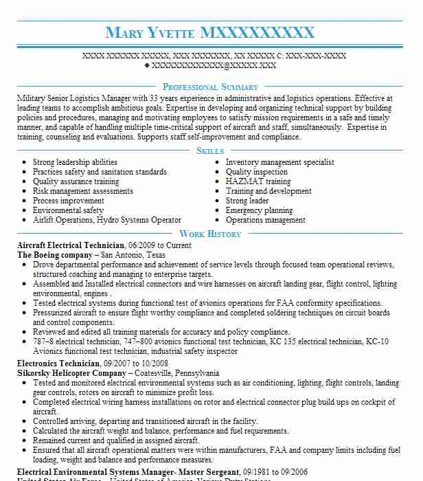 aircraft electrical systems technician  mos 6337  resume