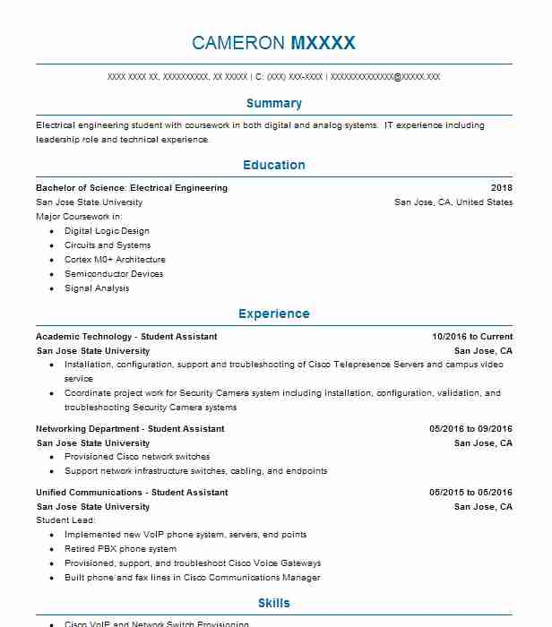 academic technology student assistant resume example san jose state