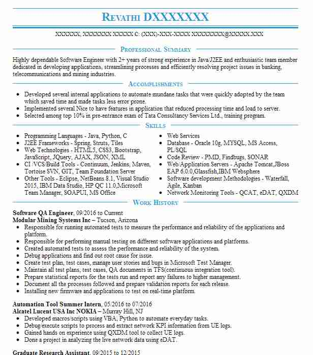 Software Qa Engineer Resume Sample Engineering Resumes