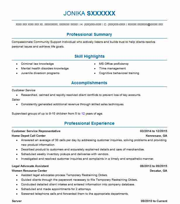 case manager intern resume example department of children