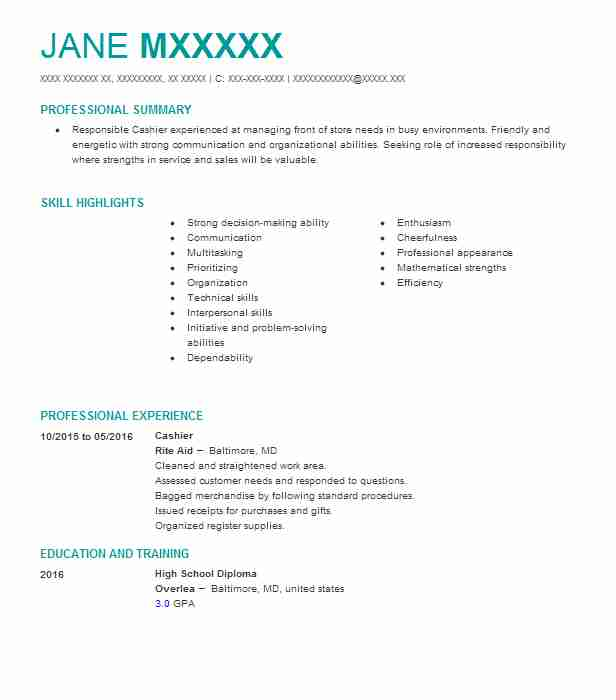 cashier resume example rite aid rosedale maryland