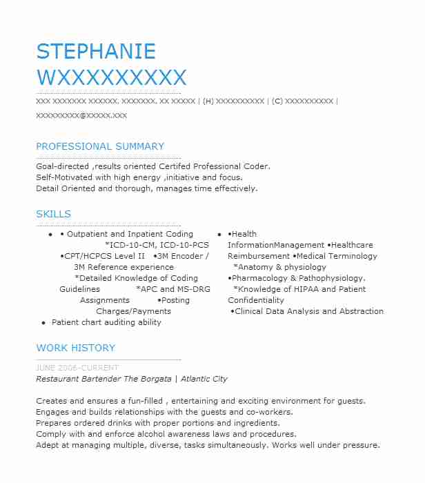 best restaurant bartender resume example