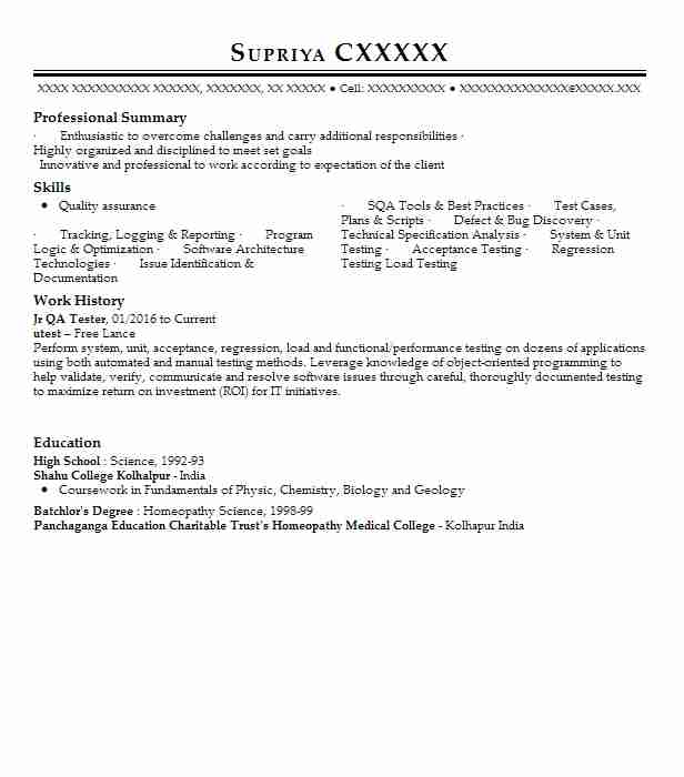 Agile Qa Tester Resume Sample: Jr Qa Tester Resume Sample