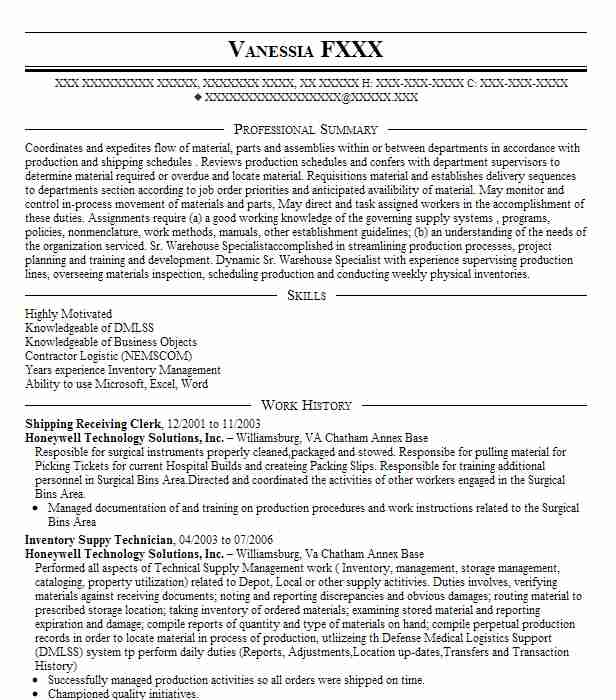 shipping receiving clerk resume sample