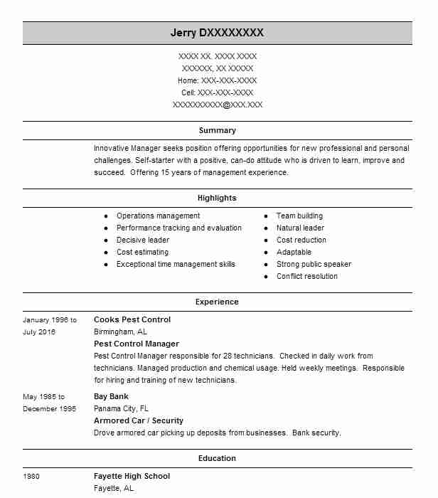 Pest Control Manager Resume Example Squish Pest Control Inc New City New York