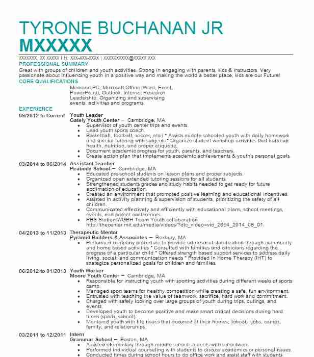 Youth Leader Resume Sample Resumes Misc LiveCareer