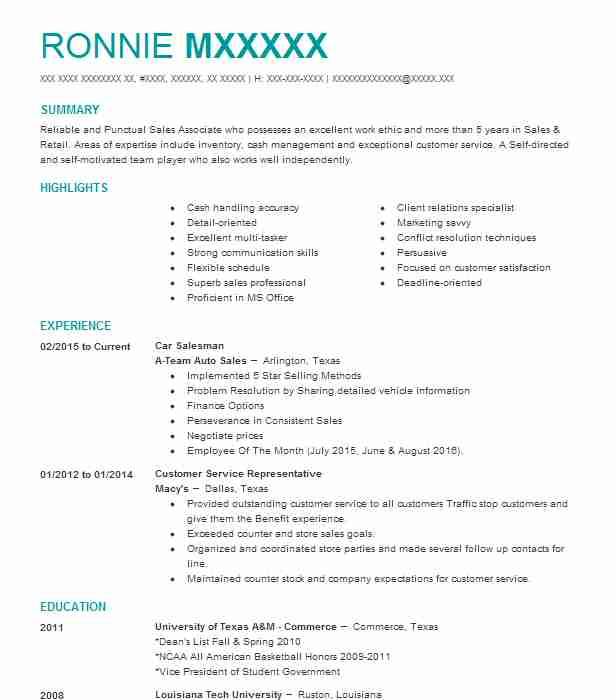 Car Salesman Resume Sample | Sales Resumes | LiveCareer