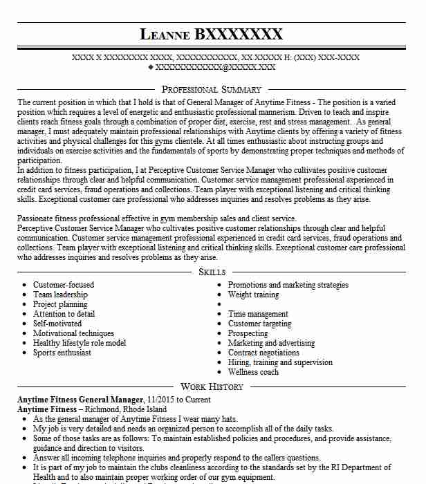 general manager fitness club resume example fitness first
