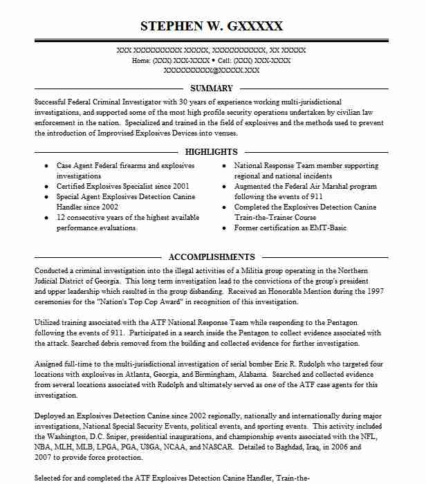 Special Agent Canine Handler Resume Example (ATF) - Mooresville ...
