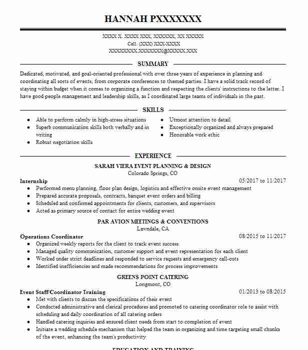 47 wedding and event planning resume examples in colorado livecareer