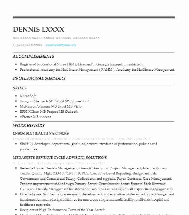 revenue cycle director  business services director resume example portage health