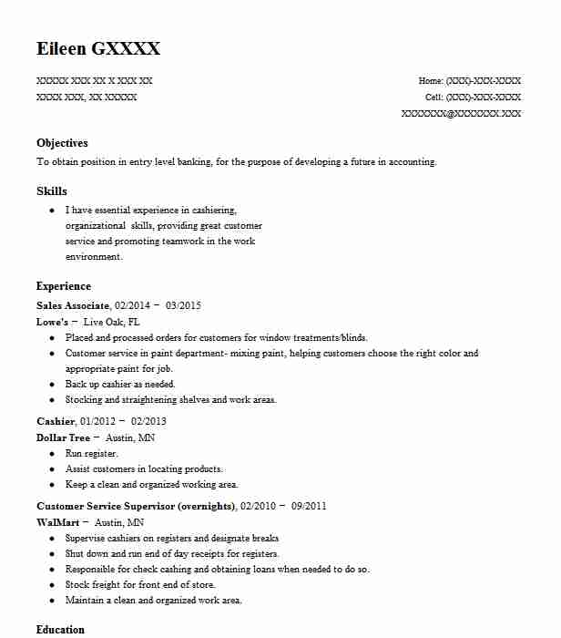 2 resumes matching tellers and customer service resume samples in live oak florida sales associate - Lowe Customer Service Associate Sample Resume
