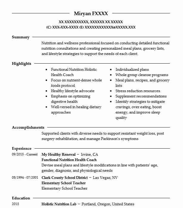 functional medicine certified health coach resume example