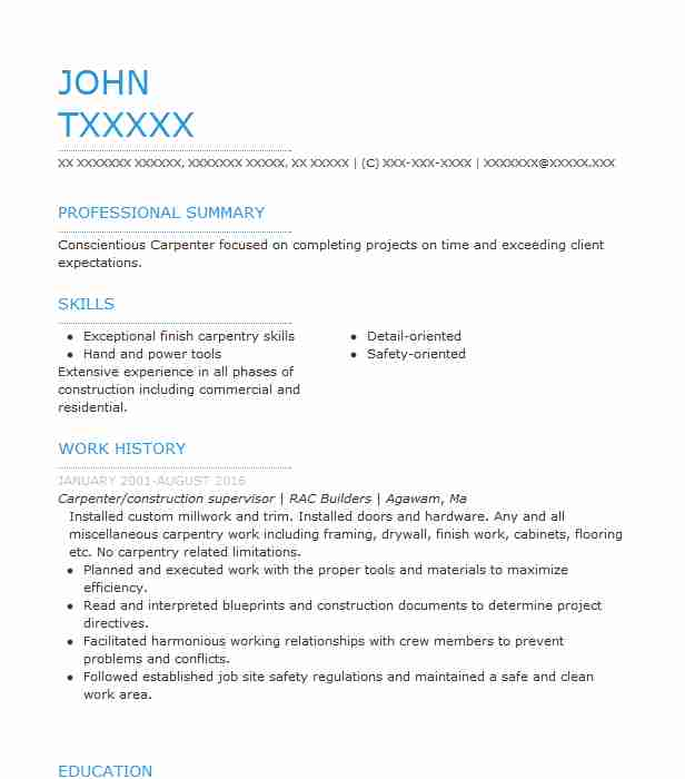 1 carpenters resume examples in feeding hills ma livecareer