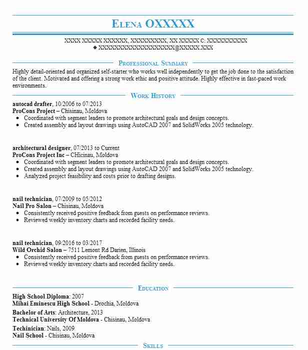 autocad drafter resume sample