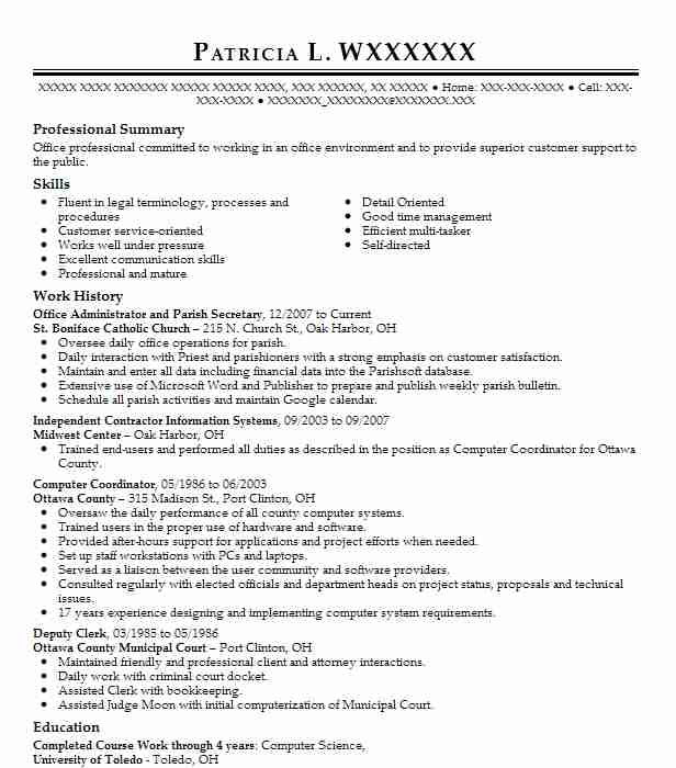 Office Administrator And Parish Secretary Resume Example St ...