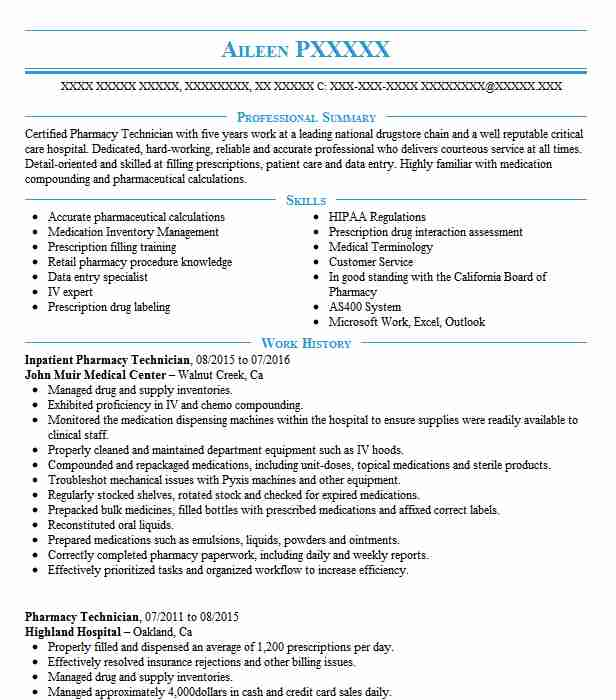 Cover Letter For Pharmacy Technician: Inpatient Pharmacy Technician Resume Sample