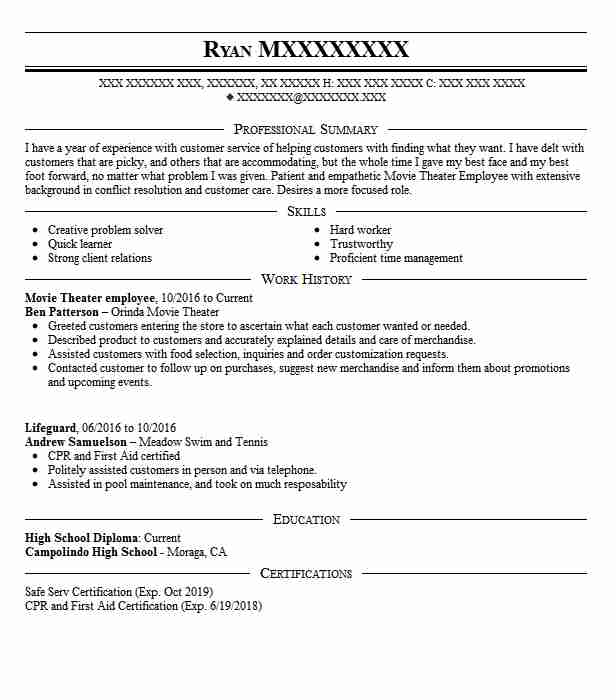 movie theater attendant resume example cinema west