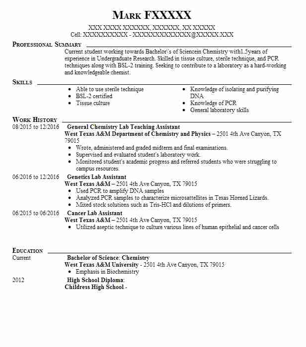 organic chemistry lab teaching assistant resume example
