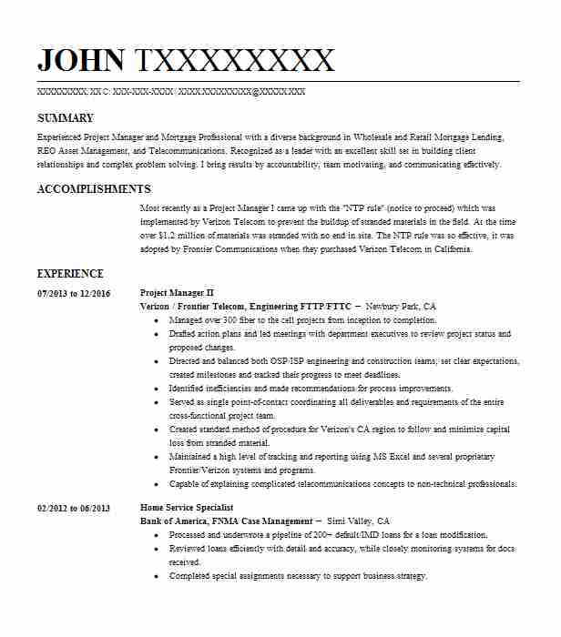 Project Manager Ii Resume Example Verizon Frontier Telecom