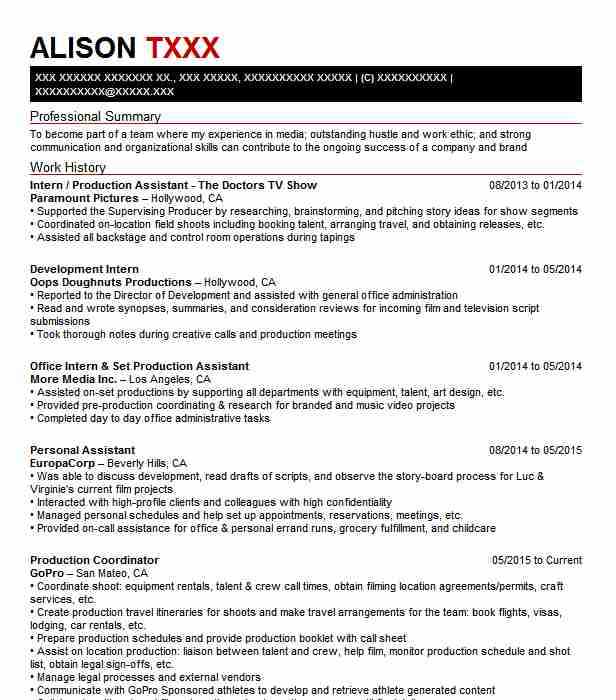 tv production assistant resume example becon tv