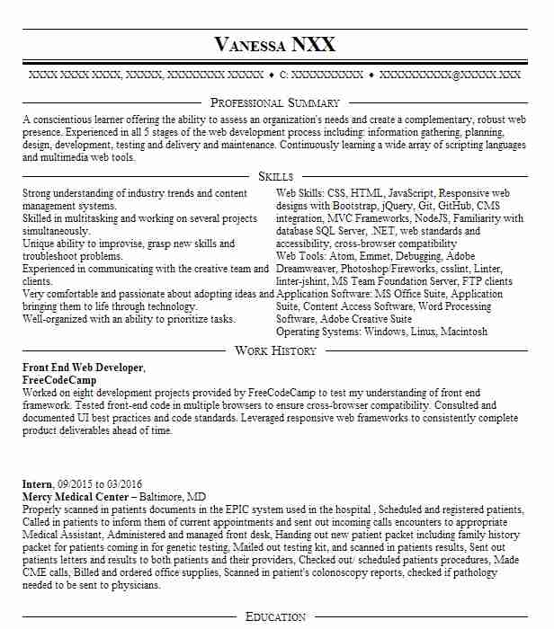 Front End Developer Intern Resume Example Swift Consol