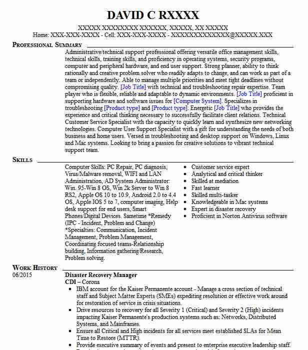 Sr. Disaster Recovery Specialist Resume Example Time Warner ...