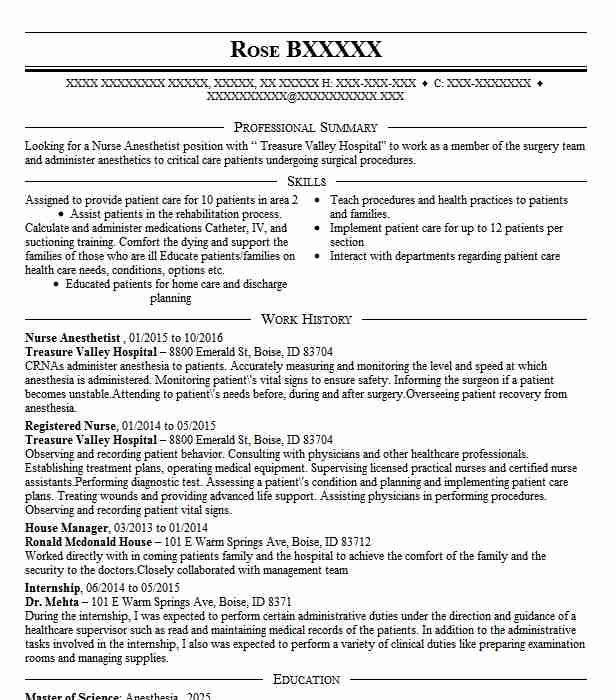 nurse anesthetist resume sample